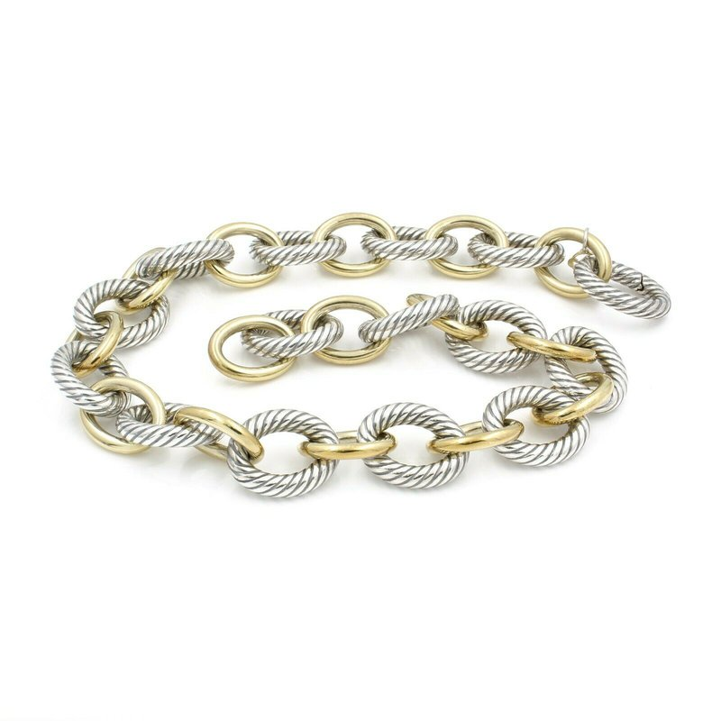 """David Yurman DAVID YURMAN 18K AND STERLING SILVER 17"""" LARGE OVAL CABLE LINK NECKLACE #D2499-2"""