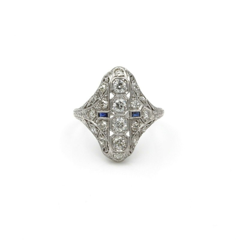 Antique ART DECO 14K WHITE GOLD 1.6 CTW OLD EURO DIAMOND & SAPPHIRE SHIELD RING #E-180
