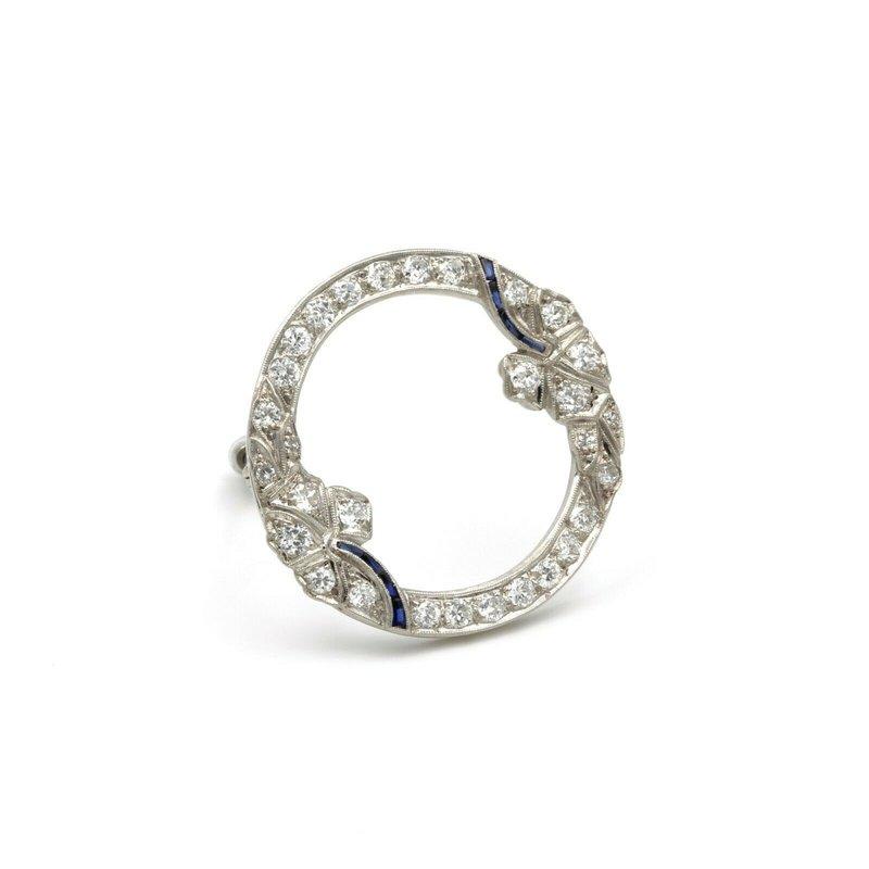 National Rarities ART DECO PLATINUM 1.38 CTW DIAMONDS AND FANCY BLUE SAPPHIRE CIRCLE BROOCH #E-83
