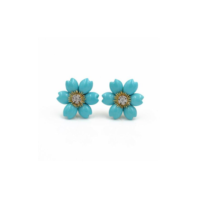 National Rarities 18K SOLID GOLD CARVED TURQUOISE & 0.30CTW DIAMOND FLOWER EARRINGS #E-292