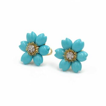 18K SOLID GOLD CARVED TURQUOISE & 0.30CTW DIAMOND FLOWER EARRINGS #E-292