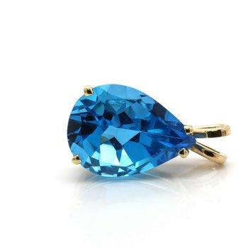 14k GOLD PENDANT WITH 13.75 CT ELECTRIC BLUE TOPAZ GEMSTONE PEAR SHAPE CUT J6-10