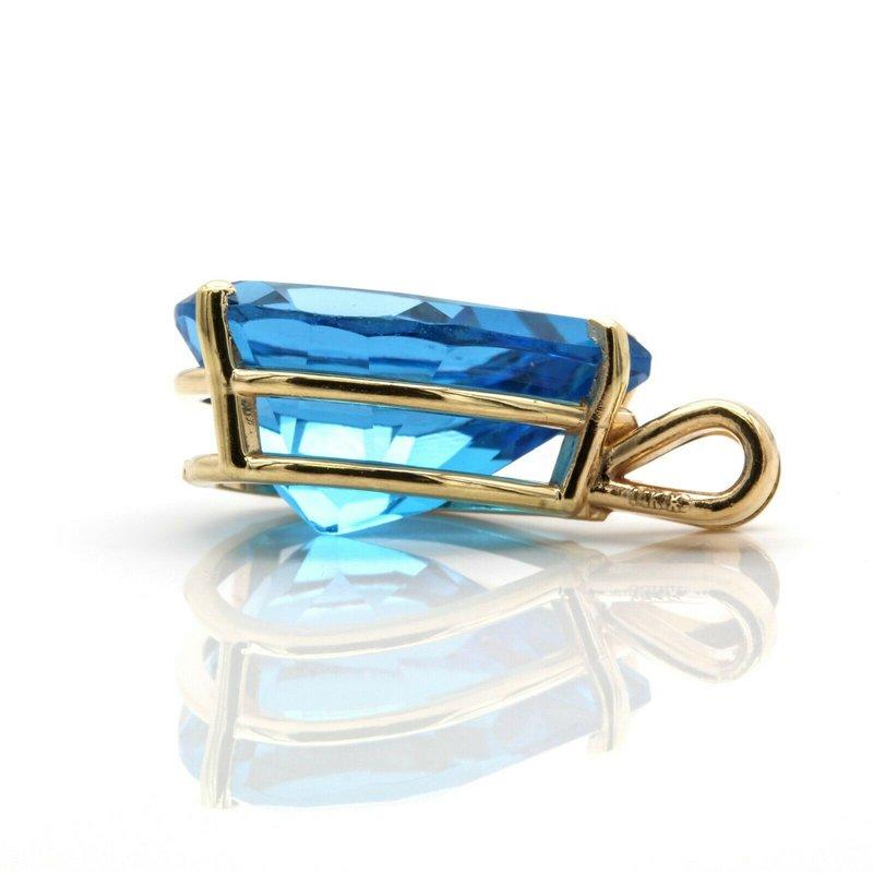 National Rarities 14k GOLD PENDANT WITH 13.75 CT ELECTRIC BLUE TOPAZ GEMSTONE PEAR SHAPE CUT J6-10
