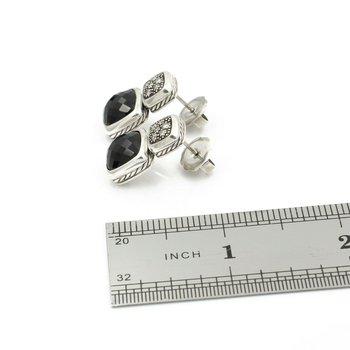 DESIGNER DAVID YURMAN STERLING SILVER ONYX & DIAMOND DROP EARRINGS D14-8