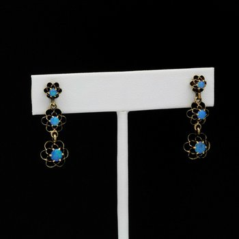 14K YELLOW GOLD OPAL BUTTERCUP VICTORIAN ERA EARRINGS DANGLE POST BACK 1034B-7