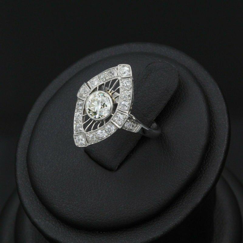 National Rarities PLATINUM VINTAGE ART DECO 1.30 CTW DIAMOND RING HALO RADIANT OLD EURO #E0319-56