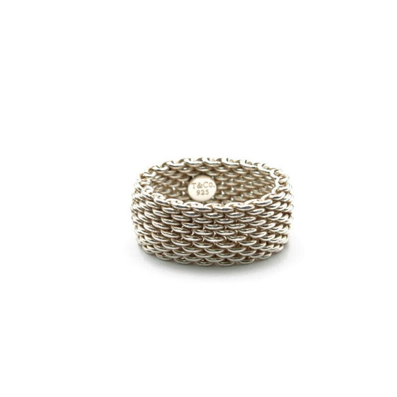 Tiffany Co TIFFANY & CO STERLING SILVER SOMERSET MESH RING SIZE 7 AUTHENTIC DESIGN 1052B-5