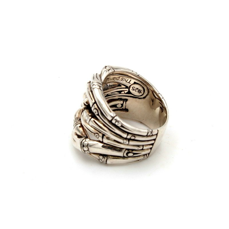 John Hardy JOHN HARDY STERLING SILVER WOVEN BAMBOO COLLECTION DESIGN RING SIZE 7.25 #D5-4