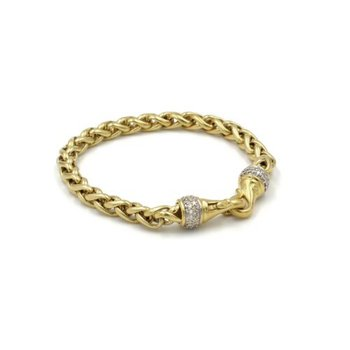 18K YELLOW GOLD DAVID YURMAN WHEAT CHAIN BRACELET W/ DIAMOND PAVE CLASP 1037B-5
