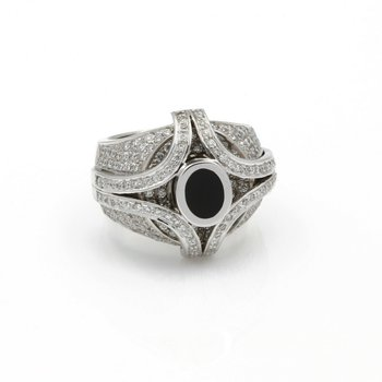 BERANRD PASSMAN 18K GOLD BLK CORAL ROUND BRILLAINT DIAMOND RING 2.54 CTW D958-9