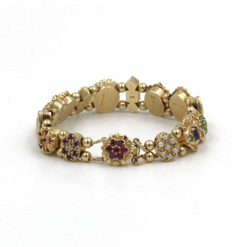Klein Jewelry Company Incorporated 14K VICTORIAN GEMSTONE SLIDE BRACELET KLEIN JEWELRY KLJCI JOSHUA SLIDES #987B-8