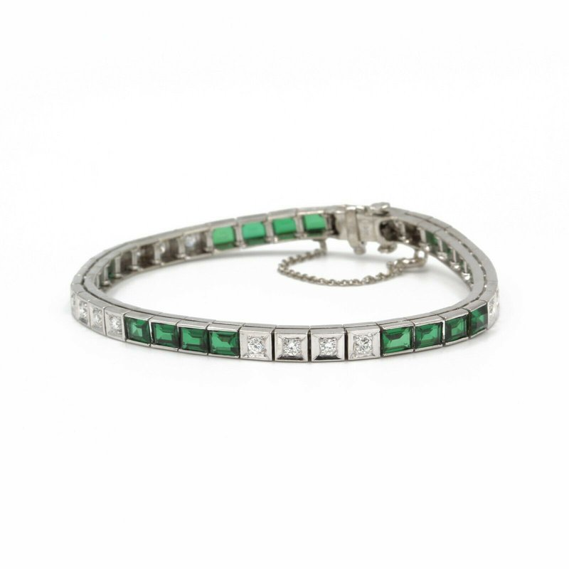 National Rarities 14K WHITE GOLD 6.12 CTW BAGUETTE TSAVORITE GARNET ROUND DIAMOND BRACELET #E272