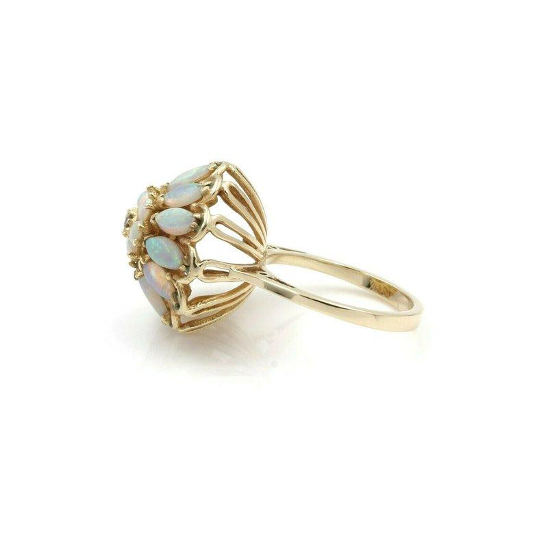 Harem VINTAGE 14K GOLD & DIAMOND ROUND HAREM PRINCESS OPAL BOMBE SIZE 7 RING JB62-1