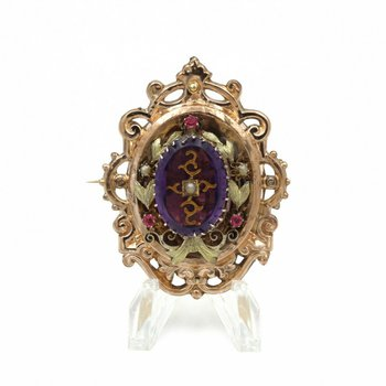 VICTORIAN 14K ROSE YELLOW GOLD AMETHYST INTAGLIO RUBY  PEARL BAROQUE BROOCH E270