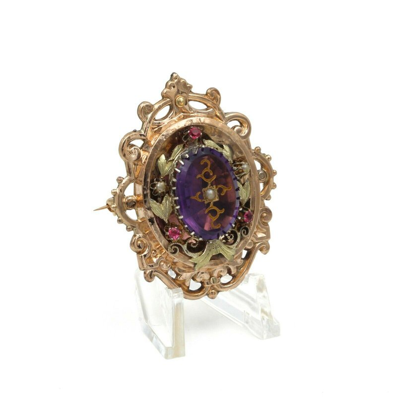 National Rarities VICTORIAN 14K ROSE YELLOW GOLD AMETHYST INTAGLIO RUBY  PEARL BAROQUE BROOCH E270