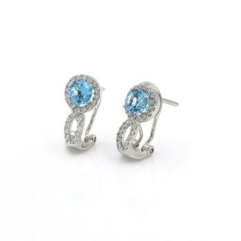 14K WHITE GOLD ROUND BLUE TOPAZ DIAMOND OMEGA BACK STUD EARRINGS 1.60CTW #J5-6