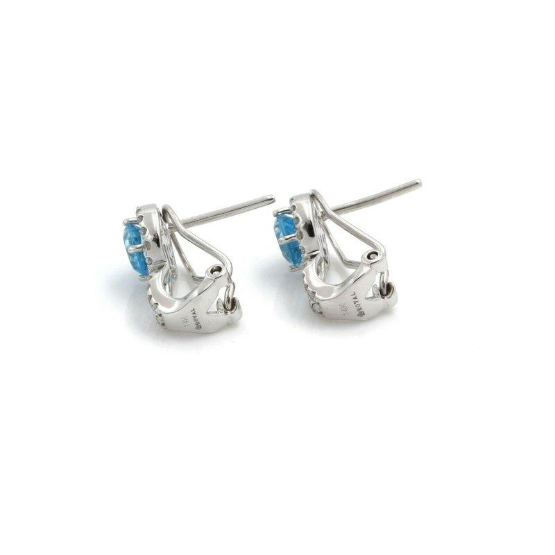 Unbranded 14K WHITE GOLD ROUND BLUE TOPAZ DIAMOND OMEGA BACK STUD EARRINGS 1.60CTW #J5-6
