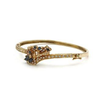 VINTAGE 14K YELLOW GOLD 1.85 CTW SAPPHIRE & DIAMOND CORNUCOPIA BANGLE #E-190