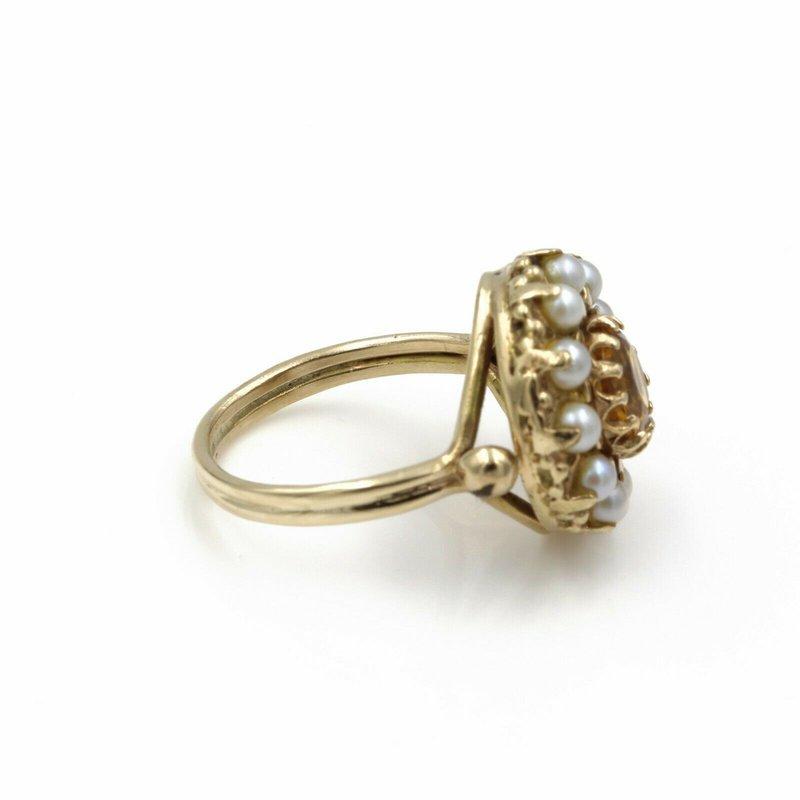 Exquisite EXQUISITE VICTORIAN ERA 14K GOLD ROUND CITRINE & PEARL HALO RING, SIZE 7.5 E-104