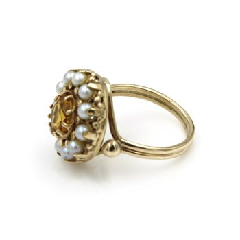 EXQUISITE VICTORIAN ERA 14K GOLD ROUND CITRINE & PEARL HALO RING, SIZE 7.5 E-104