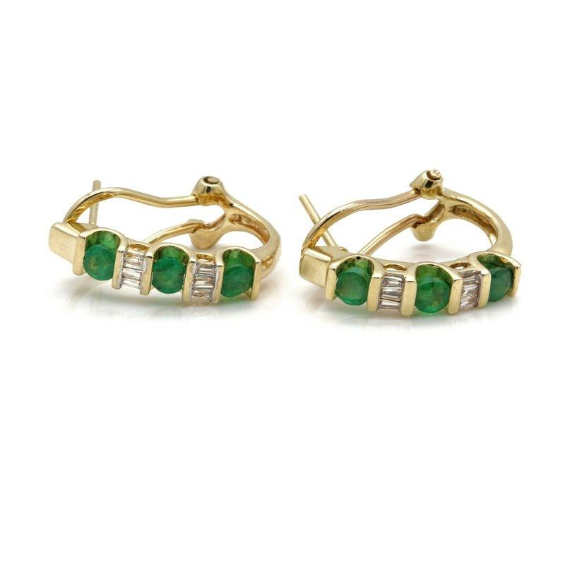 National Rarities VINTAGE 10K YELLOW GOLD 0.12 CTW DIAMOND 0.60 CTW EMERALD HOOP EARRINGS J985-S2