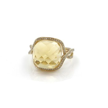 14K RING WITH 7.00 CT CITRINE CUSHION AND .40 CTW DIAMONDS ACCENTS NO RES J3-4