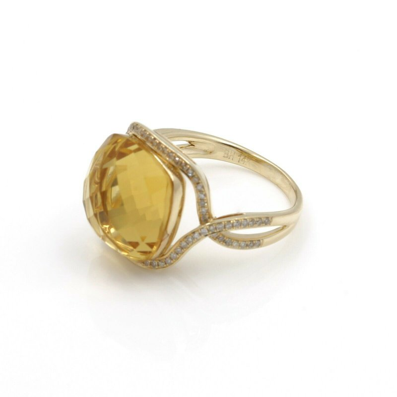 National Rarities 14K RING WITH 7.00 CT CITRINE CUSHION AND .40 CTW DIAMONDS ACCENTS NO RES J3-4