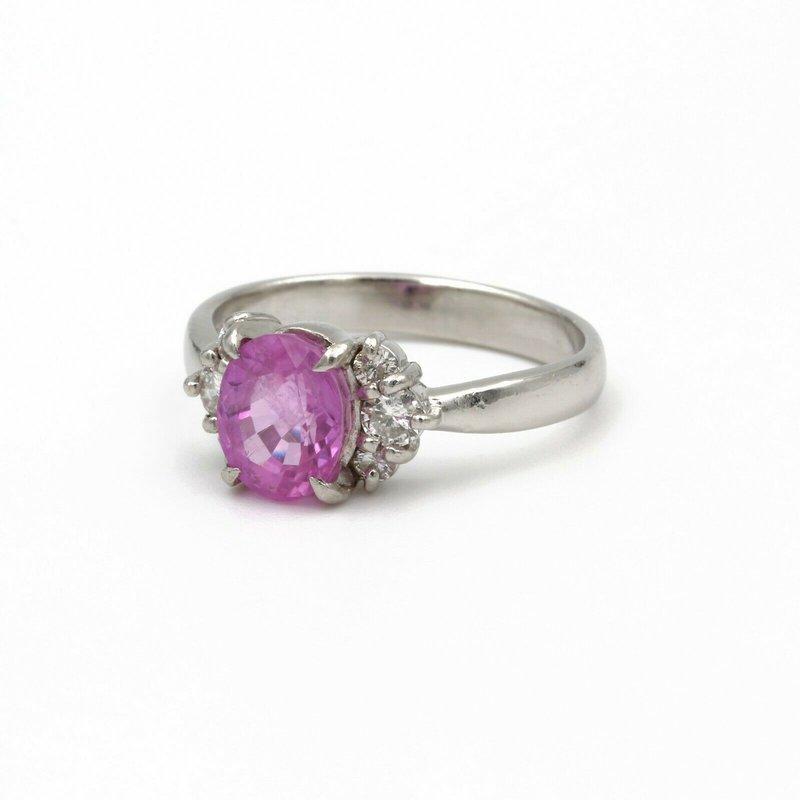 National Rarities PLATINUM 1.75 CT OVAL BRIGHT PINK SAPPHIRE & 0.22 CTW ROUND DIAMOND RING #979B-6