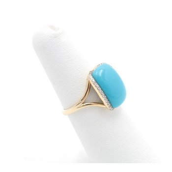 14K YELLOW GOLD TURQUOISE CUSHION CAB AND DIAMOND COCKTAIL RING SIZE 5 #JB22-7