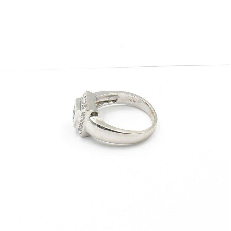 Blue Diamond JB31-18K WHITE GOLD .65 CTW BLUE PRINCESS WHITE DIAMOND HALO RING SIZE 9 #JB31-4