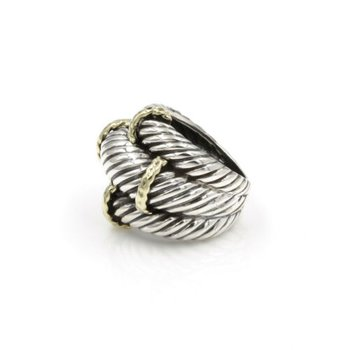 DAVID YURMAN STERLING SILVER & 14K GOLD TRIPLE CABLE RING SIZE 6 #1029B-2