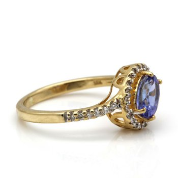 18K YELLOW GOLD DELICATE 0.85 CT TANZANITE AND DIAMOND RING SIZE 5.25 #JB75-2