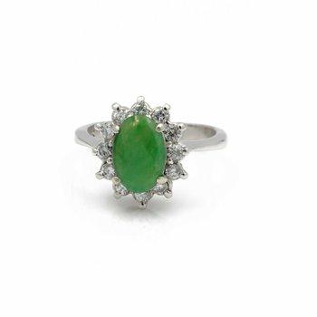 14K WHITE GOLD OVAL CABOCHON GREEN JADEITE DIAMOND COCKTAIL RING SIZE 6 #JB39-8