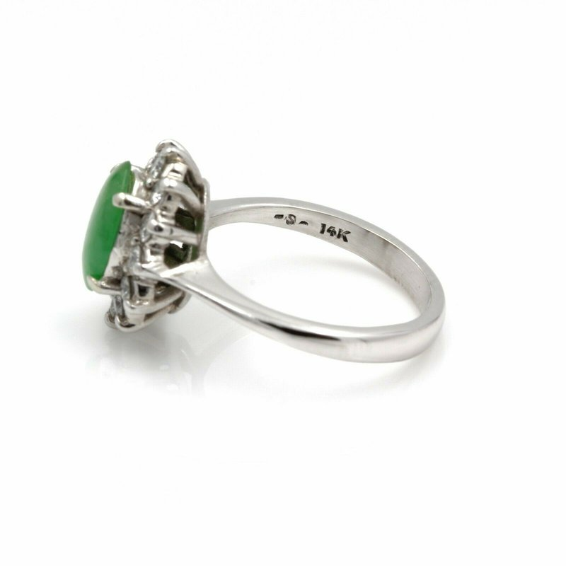 Unbranded 14K WHITE GOLD OVAL CABOCHON GREEN JADEITE DIAMOND COCKTAIL RING SIZE 6 #JB39-8