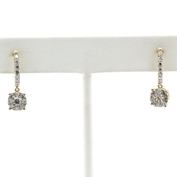 14K YELLOW GOLD HUGGIE DANGLE ROUND BRILLIANT DIAMOND CLUSTER EARRINGS #J8-2