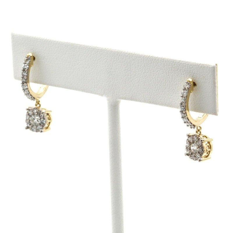 National Rarities 14K YELLOW GOLD HUGGIE DANGLE ROUND BRILLIANT DIAMOND CLUSTER EARRINGS #J8-2