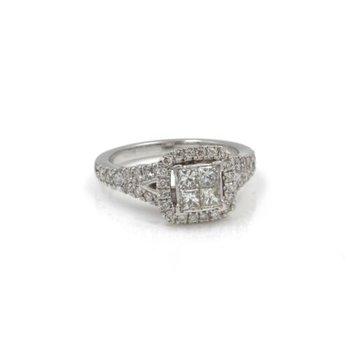 14K WG VERA WANG ILLUSION SET PRINCESS CUT DIAMOND RING HALO BRIDAL #1035B-7