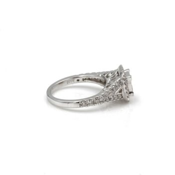 14K WG VERA WANG ILLUSION SET PRINCESS CUT DIAMOND RING HALO BRIDAL #1035B-7