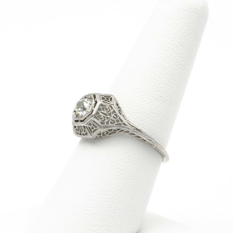 National Rarities VINTAGE 18K WHITE GOLD ART DECO .52 CT OLD EUROPEAN CUT DIAMOND RING #E-46