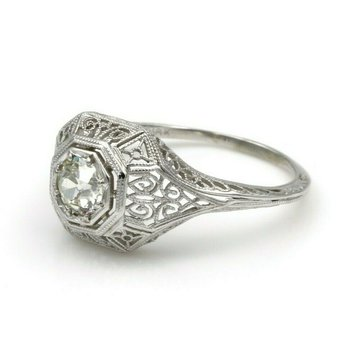 VINTAGE 18K WHITE GOLD ART DECO .52 CT OLD EUROPEAN CUT DIAMOND RING #E-46