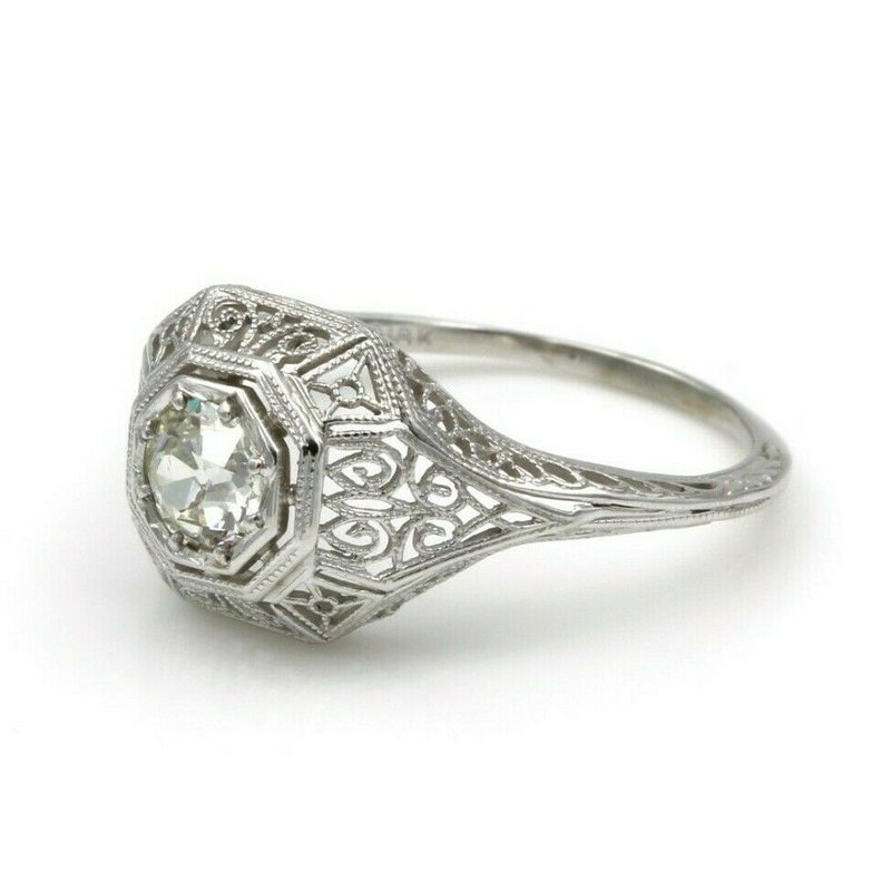 National Rarities VINTAGE 18K WHITE GOLD ART DECO .52 CT OLD EUROPEAN CUT DIAMOND RING #E-46