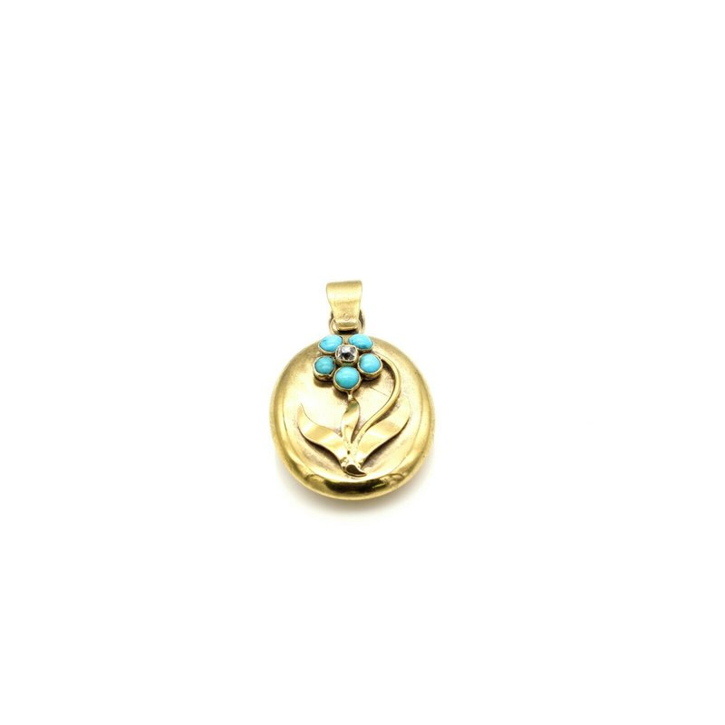 Antique 18K GOLD VICTORIAN MINE CUT DIAMOND AND TURQUOISE FORGET ME NOT PENDANT #993B-10