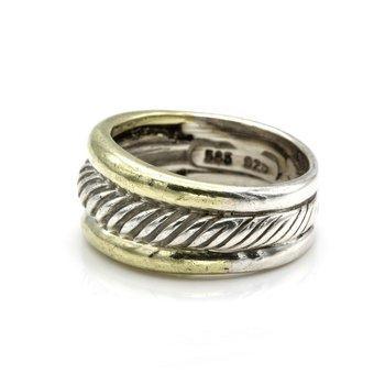 DAVID YURMAN STELRING & 14K GOLD CABLE 10.5 MM BAND RING SIZE 7.25 #1102B-5