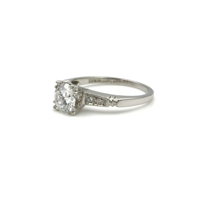 National Rarities VINTAGE ART DECO PLATINUM 0.78 CTW ROUND DIAMOND ENGAGEMENT RING SIZE 5 #E-82