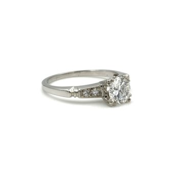 VINTAGE ART DECO PLATINUM 0.78 CTW ROUND DIAMOND ENGAGEMENT RING SIZE 5 #E-82