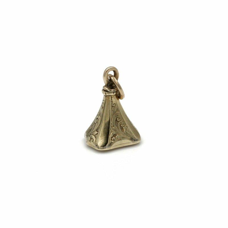 National Rarities ANTIQUE ART DECO 14K SOLID GOLD CITRINE PENDANT CALIBRE CUT FILIGREE 1081B-5