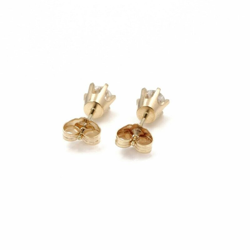National Rarities 14K GOLD DIAMOND STUD SOLITAIRE EARRINGS ROUND BRILLIANT CUT.65CTW  #JB62-10