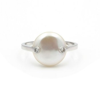 18K WHITE GOLD COIN PEARL DIAMOND ACCENT TENSION SET RING SIZE 5 #JB39-10