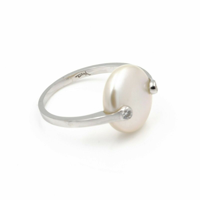 Unbranded 18K WHITE GOLD COIN PEARL DIAMOND ACCENT TENSION SET RING SIZE 5 #JB39-10