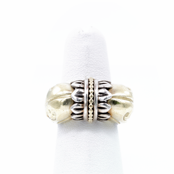 LAGOS CAVIAR ARCADIAN DOME 18K GOLD & STERLING SILVER  RING SIZE 3.5 #D23-7